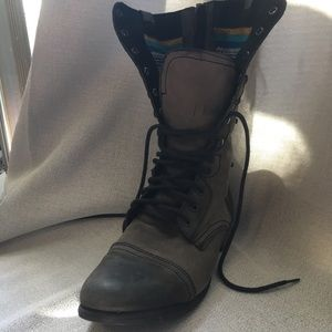 Steve Madden Distressed Combat Boot with Aztec
